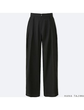 Women Hana Tajima Tencel Tuck Wide Trousers by Uniqlo