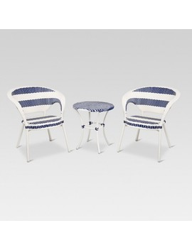 3pc Wicker Patio French Bistro Set   White/Blue   Project 62™ by Project 62™