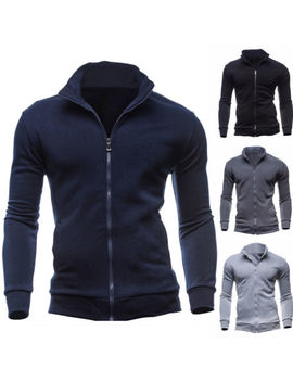 New Men's Sportswear Slim Warm Cardigan Sweatshirt Coat Jacket Outwear Sweater by Unbranded