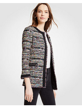 Mixed Tweed Zip Pocket Jacket by Ann Taylor