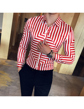 2017 Mens Stripe Shirts Black And White Social Club Camisa Masculina Slim Fit Red Chemise Homme Manche Longue Casual Slim Fit by Yoyo Unique Store