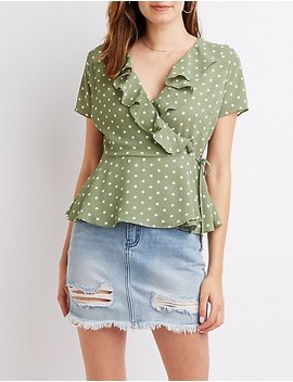 Polka Dot Ruffle Wrap Tie Top by Charlotte Russe