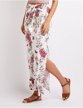Floral Tie Front Maxi Skirt by Charlotte Russe