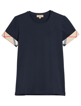 Check Cuff T Shirt by Burberry