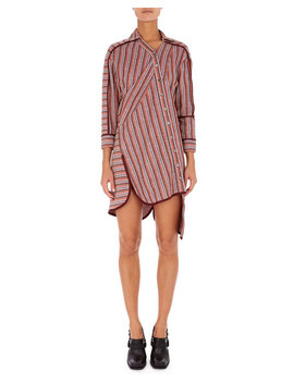Asymmetric Twisted Stripe Shirtdress by Atlein