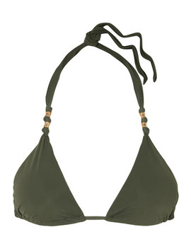 Military Paula Embellished Triangle Bikini Top by Vi X