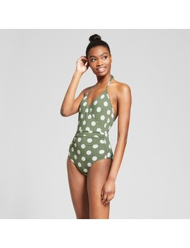 Sunn Lab Women's Polka Dot Halter Wrap One Piece Swimsuit   Moss/Pearl by Sunn Lab Swim