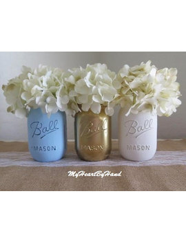 Baby Blue, Gold And White Distressed Mason Jars, Blue And Gold Baby Shower, Blue And Gold Wedding, Nursery Decor, Rustic Centerpieces by Etsy