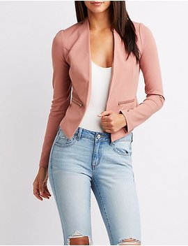 Ponte Collarless Cropped Blazer by Charlotte Russe