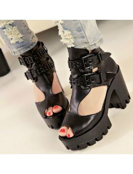 Womens Punk Buckle Rovet Peep Toe Platform Gladiator Chunky Heel Shoes Sandals by 100% New