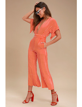 Cedric Red Gingham Culotte Jumpsuit by Faithfull The Brand