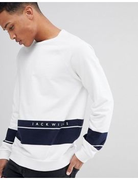 Jack Wills Gladstone Sweatshirt In White With Navy Stripe by  Jack Wills