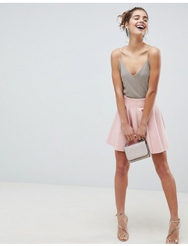 Asos Design Scuba Mini Skirt With High Waist And Box Pleat by Asos Design