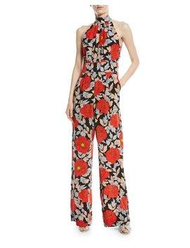 High Neck Sleeveless Wide Leg Floral Print Silk Jumpsuit by Diane Von Furstenberg