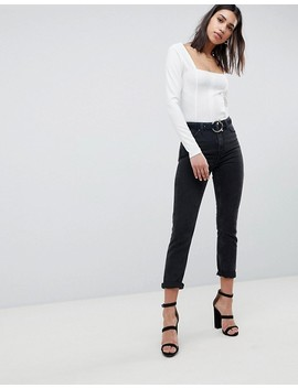 Asos Design Square Neck Fitted Top by Asos Design