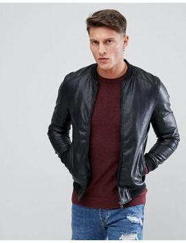Pull&Bear Faux Leather Bomber In Black by Pull&Bear
