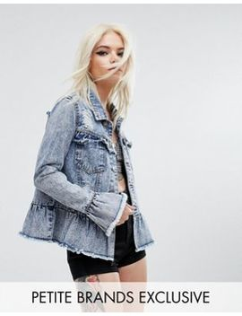 Urban Bliss Petite Distressed Denim Jacket With Ruffle Detail by Urban Bliss Petite