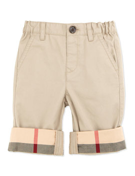 Check Cuff Cotton Trousers, Taupe, 6 18 Months by Burberry