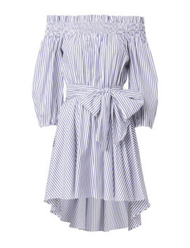 Lou Off Shoulder Striped Dress by Caroline Constas