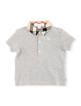 Mini William Check Collar Pique Polo Shirt, Gray, Size 6 M 3 by Burberry