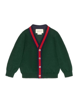 Cotton Button Front V Neck Cardigan, Green/Red, Size 6 36 Months by Gucci
