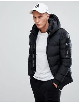 Pull&Bear Hooded Puffer Jacket In Black by Pull&Bear