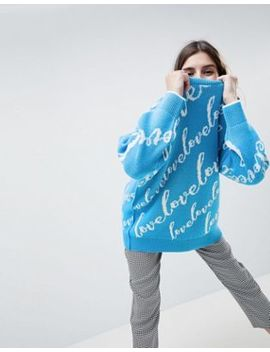 Asos Design Oversized Sweater With Love Logo by Asos Design