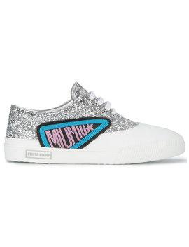 Silver Glitter Logo Patch Sneakers by Miu Miu