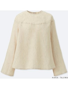 Women Premium Linen Flare Long Sleeve Blouse by Uniqlo