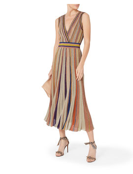 Intermix X Missoni Striped Lurex Pleated Dress by Missoni
