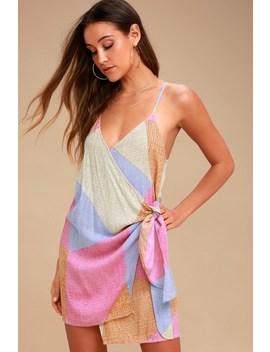 Marlo Beige Multi Print Wrap Dress by O'neill
