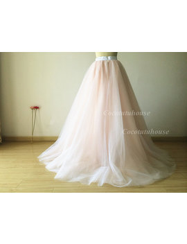 Ombre Color White/Blush Pink Tulle Skirt/Floor Length Tulle /Adult Women Tulle/Long Skirt/Wedding Dress/Bridesmaid/Valentine's Day/Promskirt by Etsy