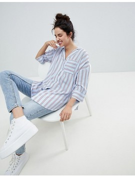 Monki Striped Blouse With Pocket by Monki