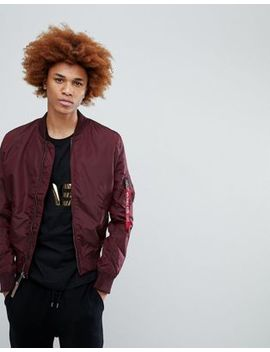 Alpha Industries Ma1 Tt Bomber Jacket Slim Fit In Dark Maroon by Alpha Industries