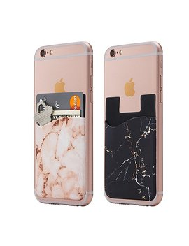 (Two) Marble Cell Phone Stick On Wallet Card Holder Phone Pocket For I Phone, Android And All Smartphones. (Black Blue) by Cardly