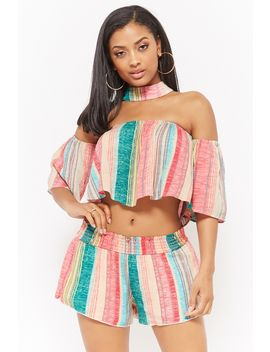 Striped Crop Top & Shorts Set by Forever 21