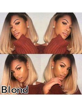 Women New Short None Lace Wig Ombre Hair Wigs Bob Wig Cosplay  Wig Black Blonde by Cool2day