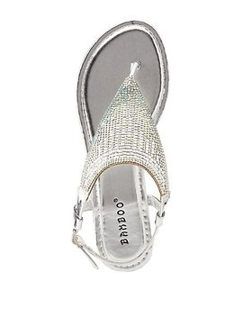 Metallic Crystal T Strap Sandals by Charlotte Russe