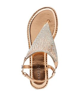 Bamboo Rhinestone Embellished Triangle Sandals by Charlotte Russe