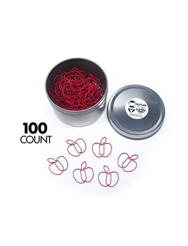 Butler In The Home Fruit Apple Shaped Paper Clips Great For Paper Clip Collectors Or A Teacher Gift   Comes In Round Tin With Lid And Gift Box (Red 100 Count) by Butler In The Home