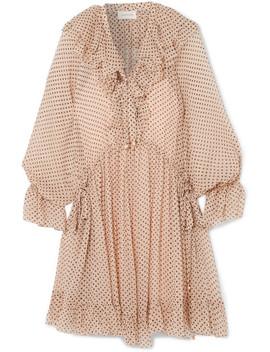 Ruffled Polka Dot Silk Georgette Mini Dress by Zimmermann