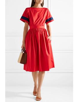 Dirndl Striped Cutout Cotton Poplin Dress by Tome