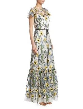 Short Sleeve Floral Print Gown by Ml Monique Lhuillier