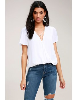 Lighten The Mood White Criss Cross Top by Lulus