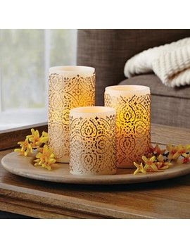 Better Homes And Gardens Led Flameless Pillar Candle Set, Malaysian Motif by Better Homes And Gardens