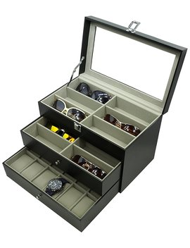 Holding 12 Glasses And 12 Watches, Sunglasses Watch Box Eyewear Accessories Display Storage Case Organizer by Origia