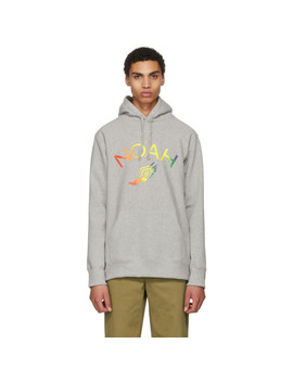 Grey Winged Foot Logo Hoodie by Noah Nyc