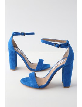 Carrson Sea Blue Suede Ankle Strap Heels by Steve Madden