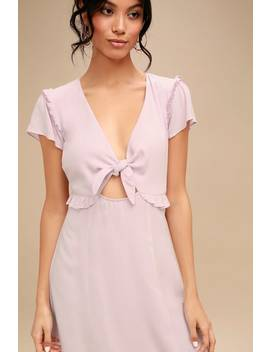 Seaport Lavender Tie Front Dress by Lulus
