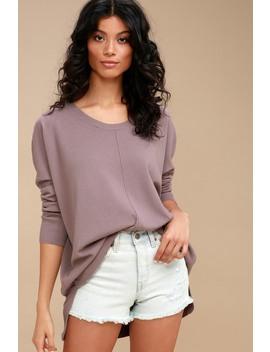 Keesa Dusty Purple Oversized Sweater Top by Lulu's